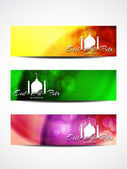 Set of beautiful header designs for Eid. — Stock Vector