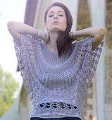 The girl in beautiful silk lavender knitted tunik — Stock Photo