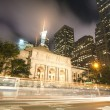 New York City Public Library at Night.  Long Exposure shot of bl - Stock Photo