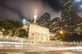 New York City Public Library at Night. Long Exposure shot of bl — Stock Photo