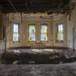 Hole in floor near four beautiful Vintage windows  — Stockfoto