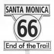 Route 66 sign, End of the trail in Santa Monica, Los Angeles — Stock Photo