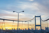 Sunset at Bosphorus Bridge in Istanbul — Stock Photo