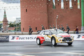 Professional WRC driver Daniel Sordo in Moscow City Racing Circle — Stock Photo