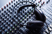 Headpnones on soundmixer — Stock Photo