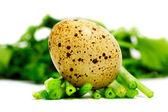 Uovo di quaglia su verdure isolato su bianco — Foto Stock