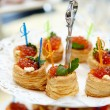 Tartlets with red caviar — Stockfoto