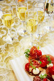 Champagne and canapes — Foto Stock