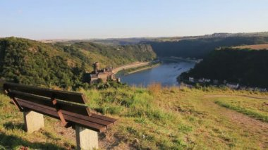 View on the rhine river with castle, empty bench and vineyards — Stock Video
