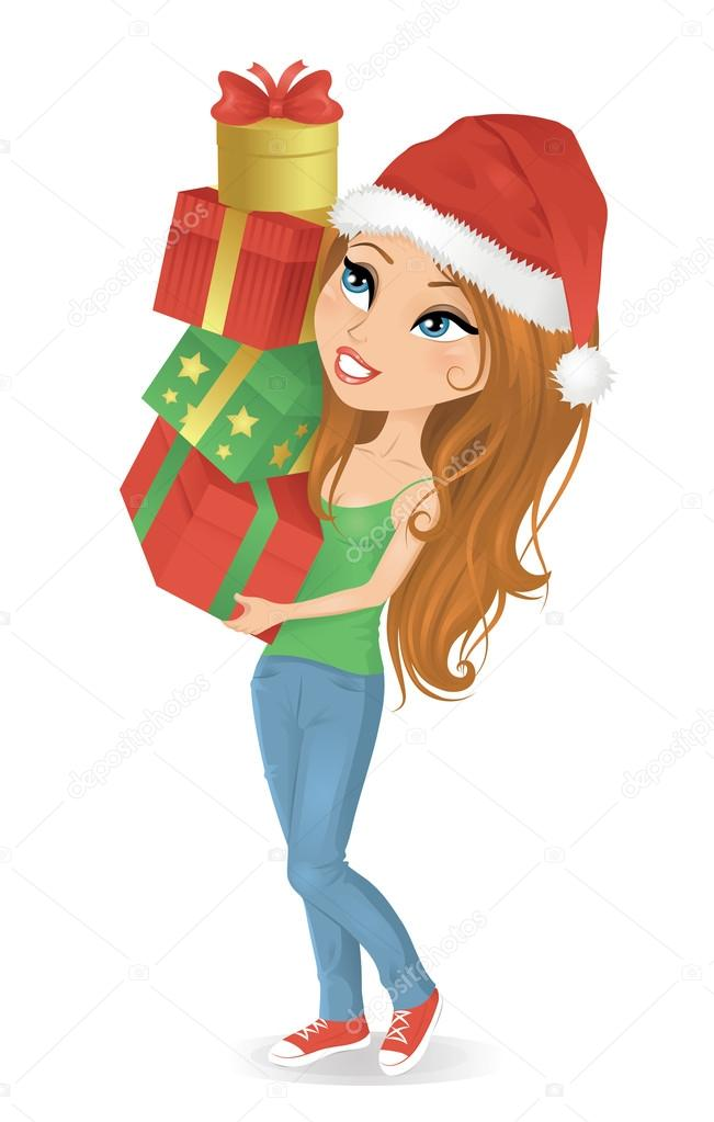 Cute cartoonish woman holding christmas presents. — Stockvectorbeeld #14057428