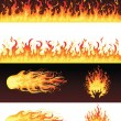Stock Vector: Set of fires.