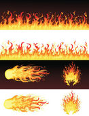 Set of fires. — Stock Vector