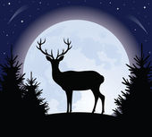 Deer and the moon. — Stock Vector