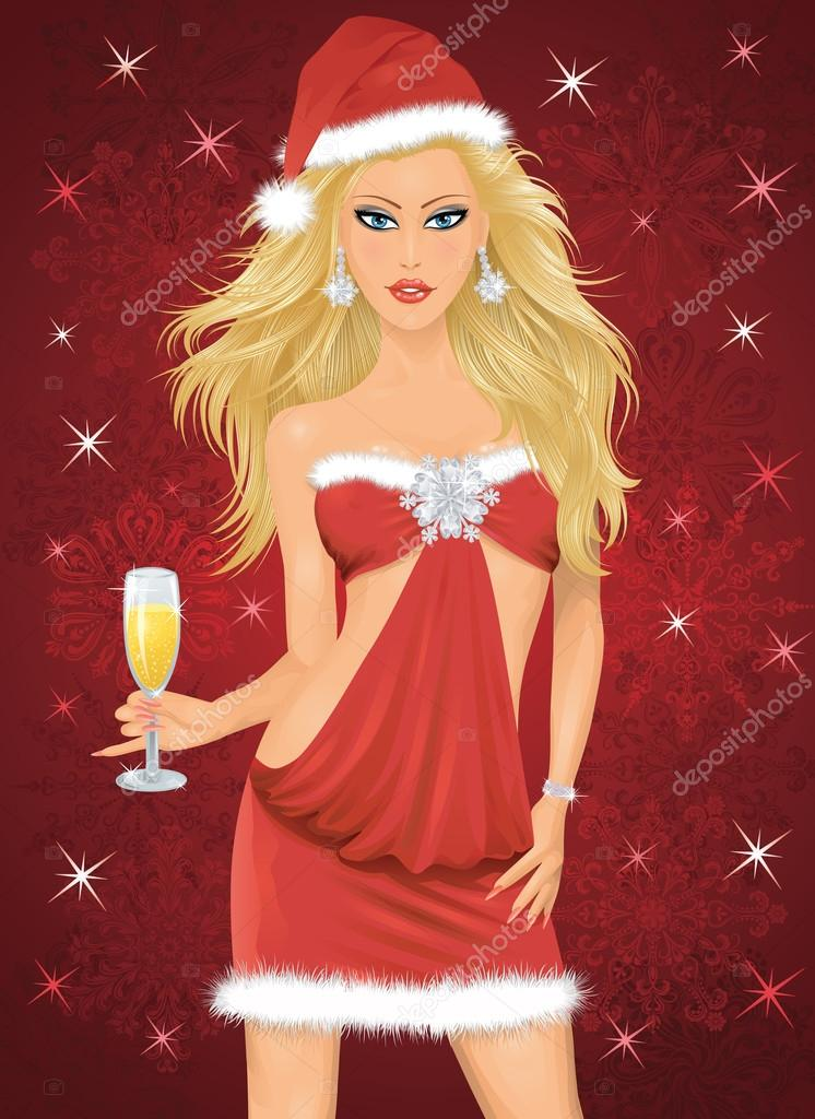 Blonde woman in a santa costume holding a glass of champagne. — Stock Vector #14083184