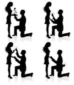 Silhouettes of a man proposing to a woman while standing on one knee. — Stockvector