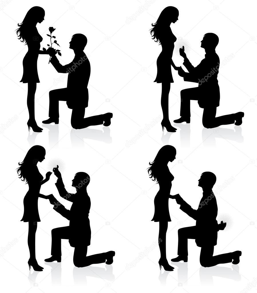 Silhouettes of a man proposing to a woman while standing on one knee. — Vettoriali Stock  #14392623