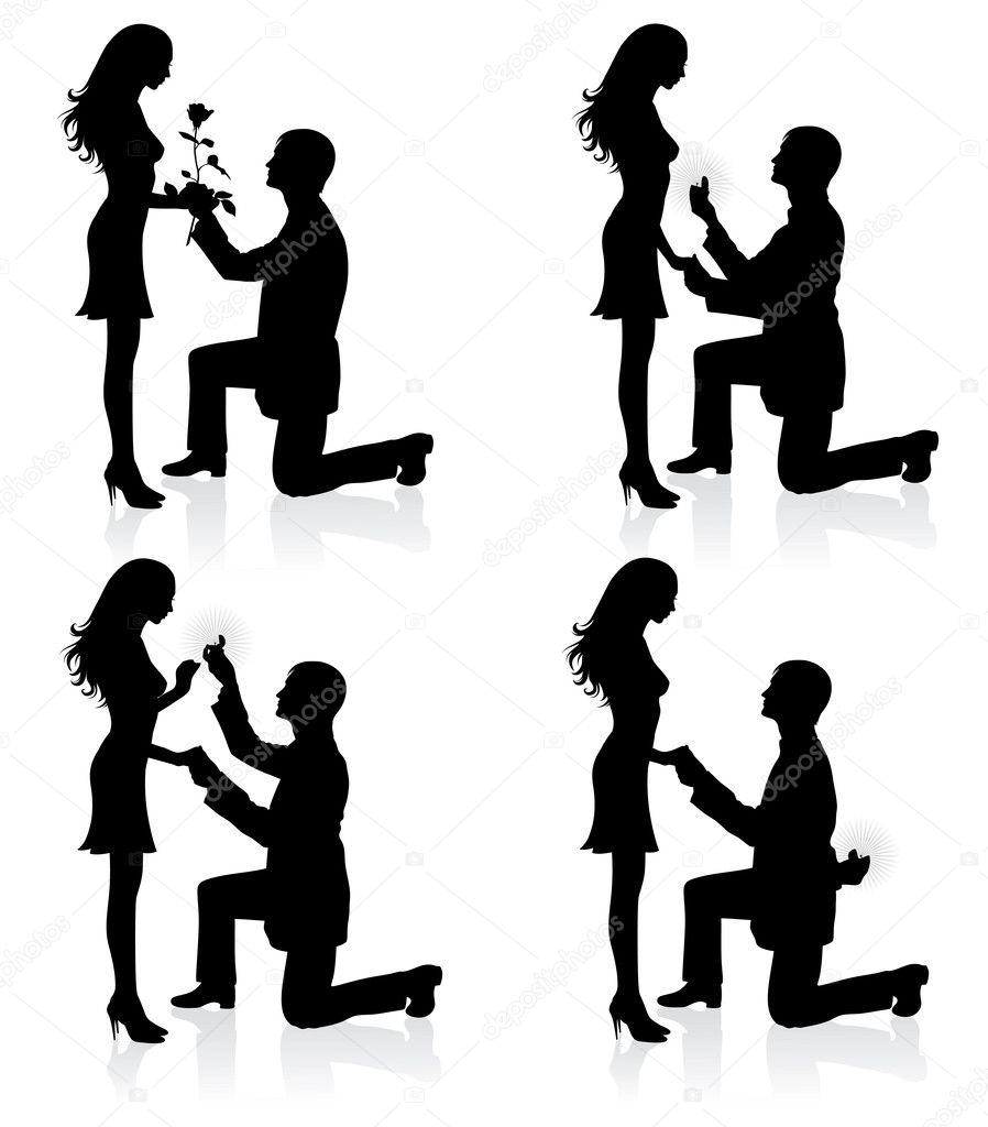 Silhouettes of a man proposing to a woman while standing on one knee. — Векторная иллюстрация #14392623