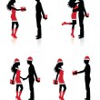 Collections of vector silhouettes of couples giving each other presents. — Stockvector