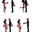 Collections of vector silhouettes of couples giving each other presents. — Vettoriale Stock