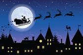 Flying woman santa. — Stock Vector