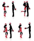 Collections of vector silhouettes of couples giving each other presents. — Stock Vector