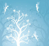 Magic tree with fairies. — Stock Vector