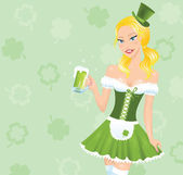 Irish looking cartoon girl holding mug of a beer. — Stock Vector