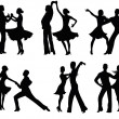 Stock Vector: Dancing silhouettes.