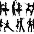 Dancing silhouettes. — Stock Vector