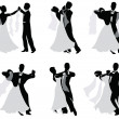 Set of vector silhouettes of dancing married couples. — Vector de stock
