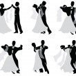 Stock Vector: Set of vector silhouettes of dancing married couples.