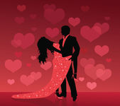 Silhouette of a man and a woman dancing on a red background with defocused hearts. — Stock Vector