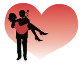 Silhouette of a man holding a woman up in his hands. Red heart on a background. — Stock Vector