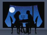 Silhouette of a couple having a romantic evening. On the background a view from window of full moon and stars. — Stock Vector