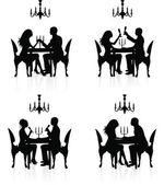 Romantic dinner. — Stock Vector