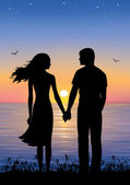 Silhouettes of man and woman standing and holding hands at evening time. On the background sunset and stars over the sea. — Stock Vector