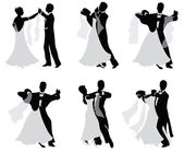 Set of vector silhouettes of dancing married couples. — Stock Vector