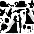 Collection of a wedding silhouettes. — Stock Vector