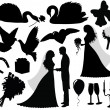 Stock Vector: Collection of wedding silhouettes.