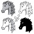 Stock Vector: Set of horses.