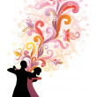 Couple dancing ballroom dance. — Stock Vector #18779527