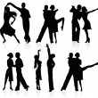 Set of silhouettes of a dancing couple. - Stock Vector