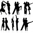 Stock Vector: Set of silhouettes of dancing couple.