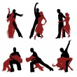 Set of silhouettes of a dancing couple. — Stock Vector #18779567