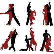 Royalty-Free Stock Vector Image: Set of silhouettes of a dancing couple.