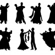 Set of silhouettes of a dancing couple. — Stock Vector #18779611