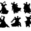Set of silhouettes of a dancing couple. — Stock Vector