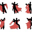 Set of silhouettes of a dancing couple. — Stock Vector #18779663