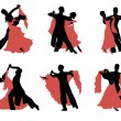Set of silhouettes of a dancing couple. — Stock Vector #18779689