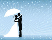 Silhouettes of groom and bride standing and hugging on the blue background. Groom holding an umbrella. Raining hearts. — Stock Vector